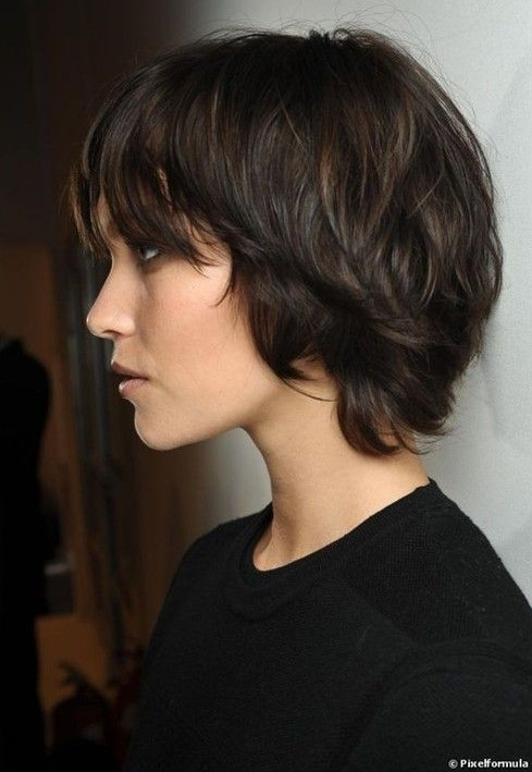 Side View of Cute Short Shag Bob Haircut with Bangs