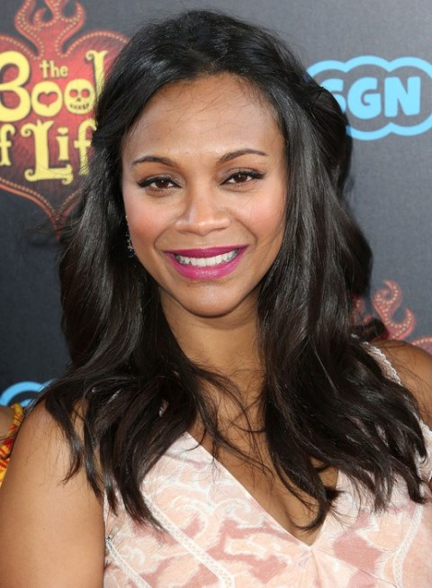 Zoe Saldana Half Up Half Down Hairstyle for Black Women