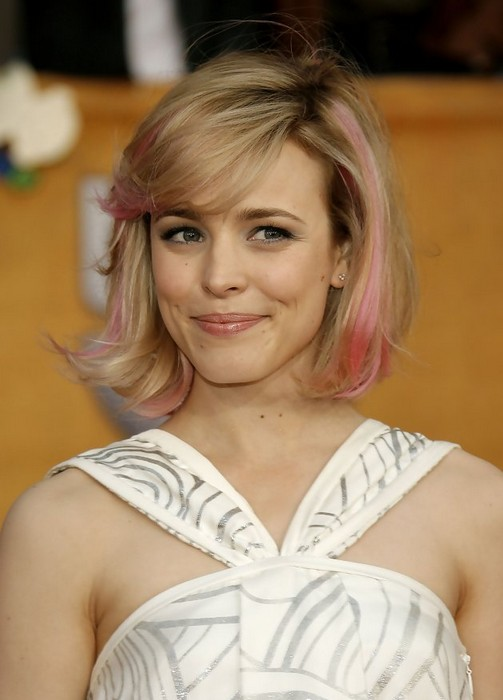 Chic Messy Short Cut with Pink Highlights from Rachael McAdams  Hairstyles Weekly