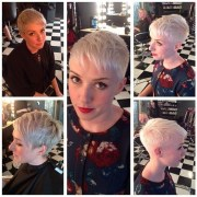 short platinum blonde pixie cut