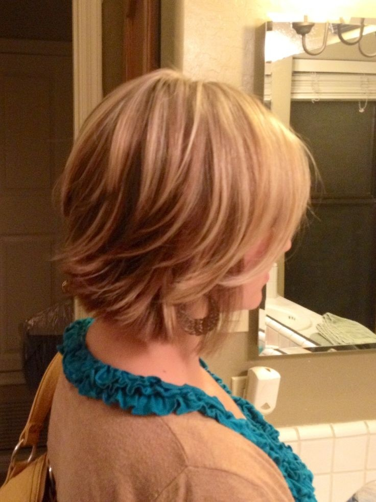 Back view of short layered bob cut - easy daily hairstyle