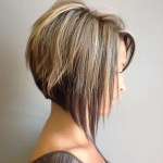 Side view of asymmetrical bob hairstyle