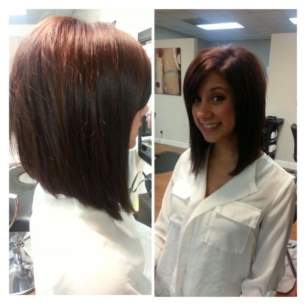 angled brunette - red long bob hairstyle