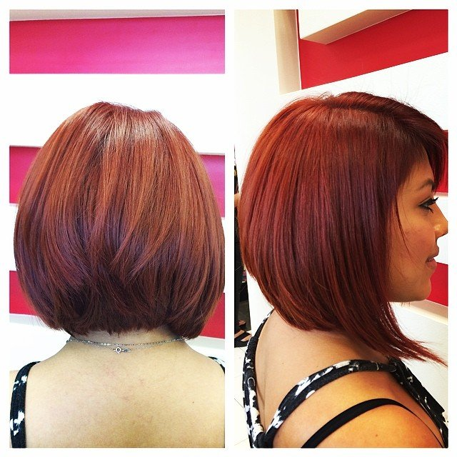 short angled red bob haircut for thick hair