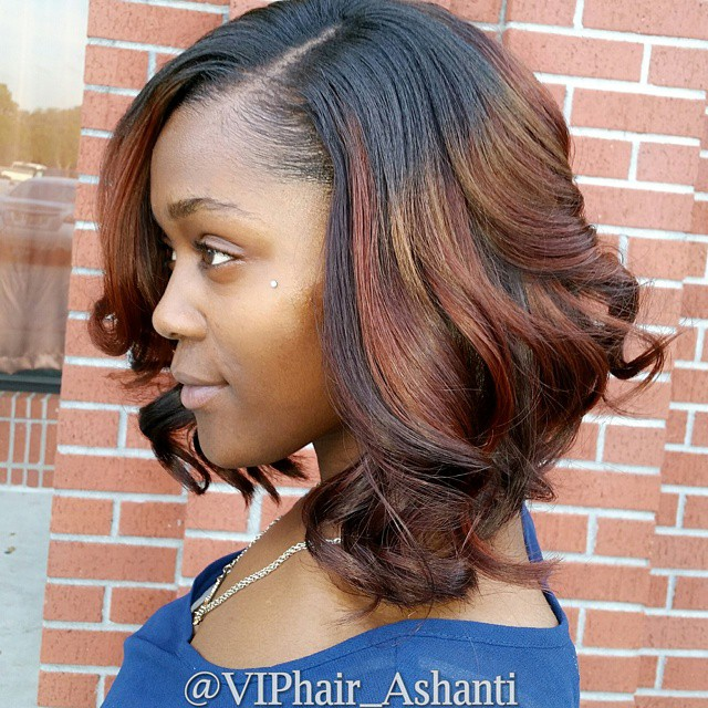 African American messy curly dark o red ombre bob hairstyle for black women