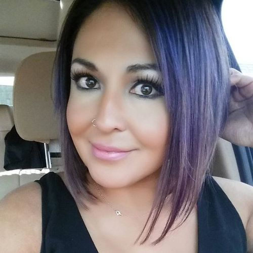 Dark to purple ombre Angled Bob Hairstyles