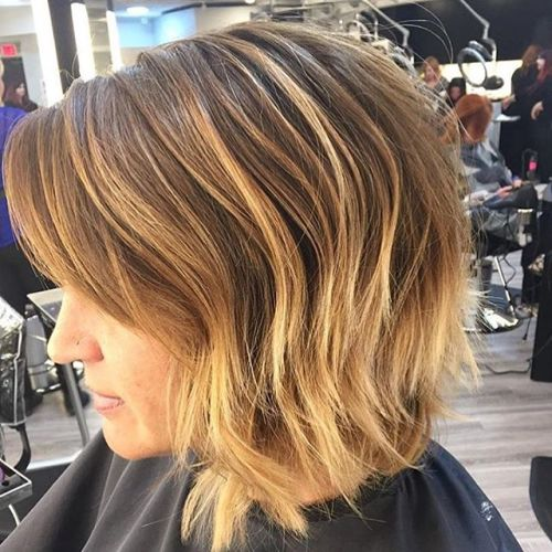 Layered short ombre Messy Bob Hairstyle