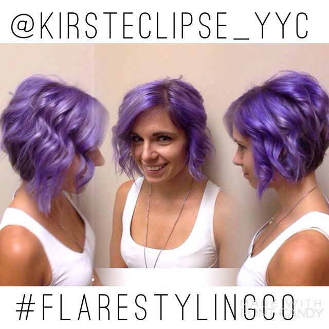 Messy Purple Bob Hairstyle for short hair