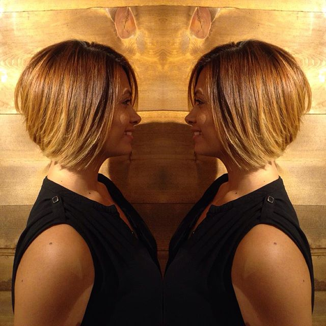 Short A-line bob hairstyle for black women