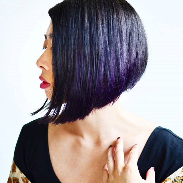 Trendy Purple highlighted Angled Bob Hairstyles