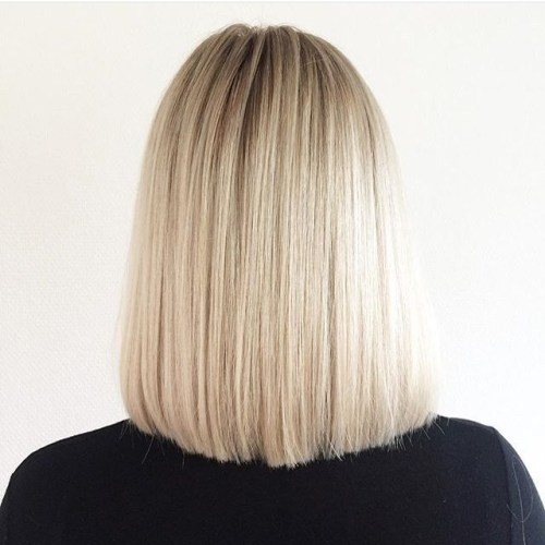 back view of straight long bob lob hairstyle