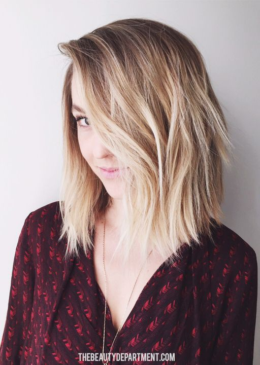 brunette to blonde ombre bob hairstyle with layers