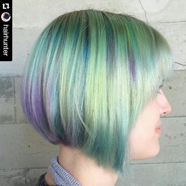 fun angled bob haircut color ideas faded color purple