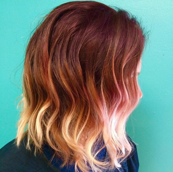 layered red to blonde ombre wavy bob haircut for thick hair