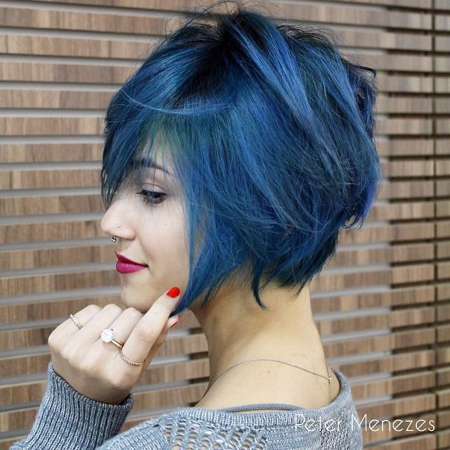 modern blue haircut - messy blue bob hairstyle for short hair