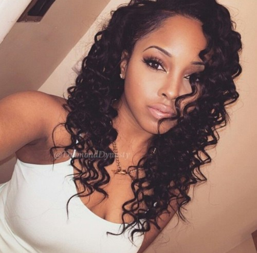 permed hair style for black women with long hair