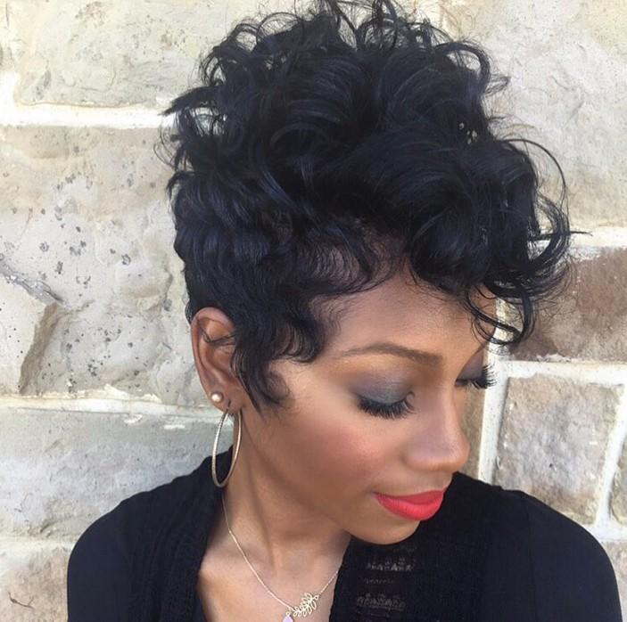 short black curly pixie haircut for black women