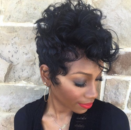short black curly pixie haircut for black women