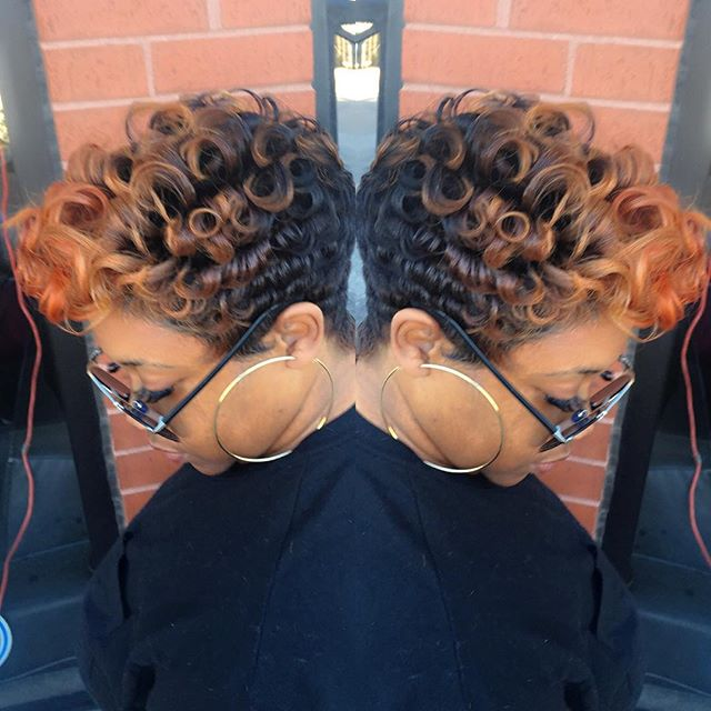 short ombre curly pixie haircut for black women