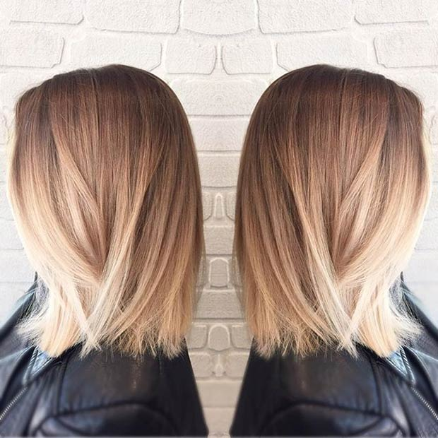 simple easy light blonde ombre lob hairstyle
