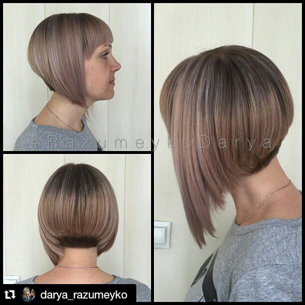 trendy graduated a-line bob hairstyle