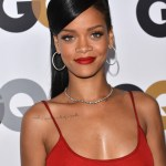 Rihanna Long black sleek hairstyle