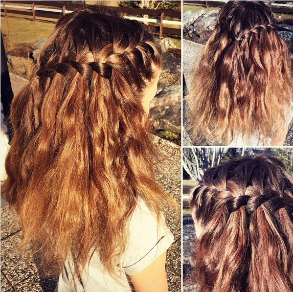 French Braid into Waterfall Braid