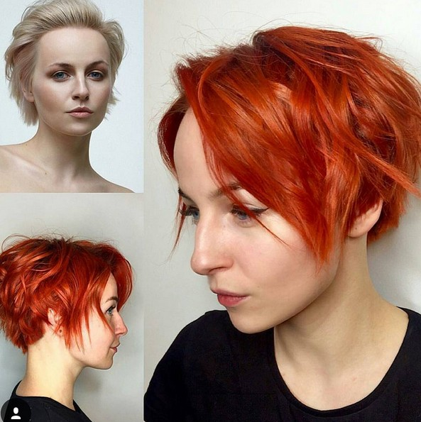 Messy Short Haircut with Awesome Hair Color