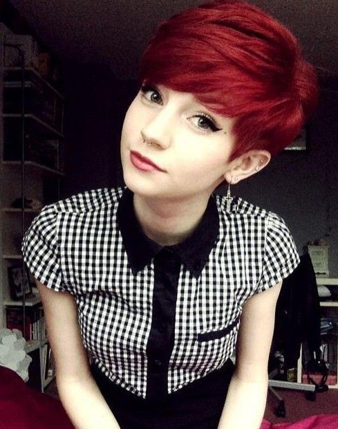 Pretty Red Pixie Haircut - Short Hairstyles with Bangs