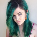 Shoulder Length Hairstyle for Green Hair