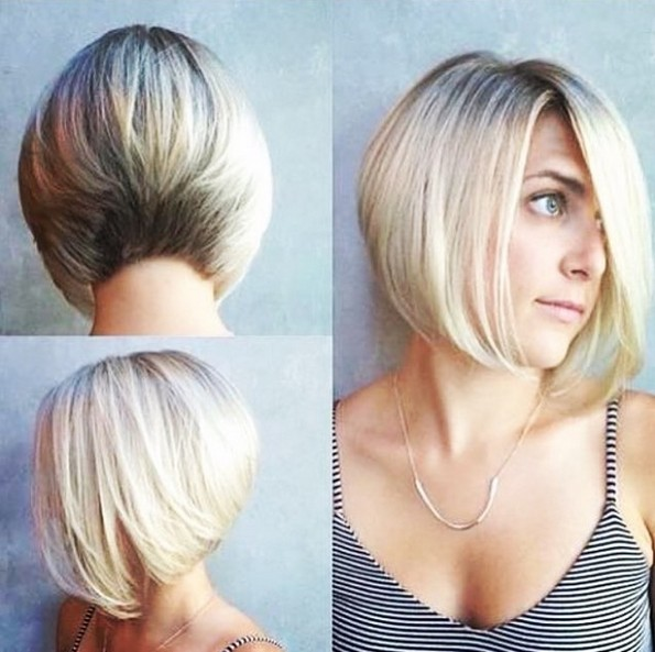 Stacked A-line Bob Haircut with Light Blonde Hair