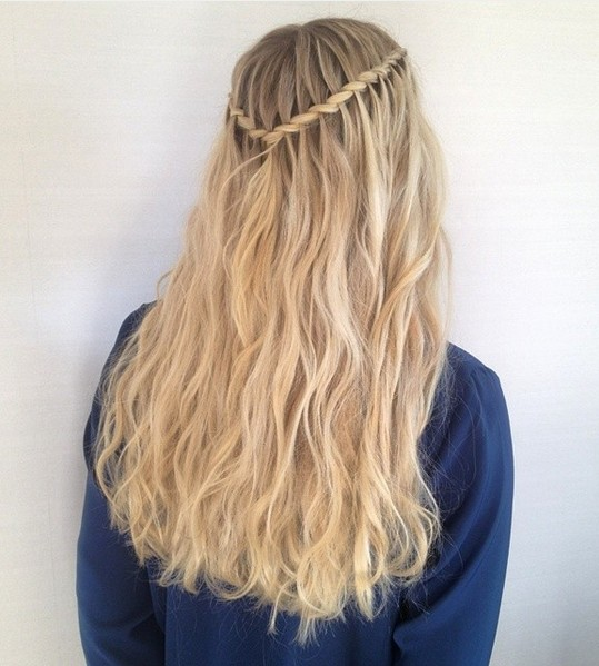 Twisted Rope Waterfall Braid with Blonde Long Hair