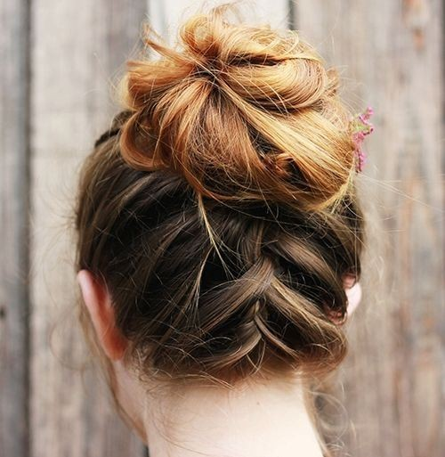 Upside Down Braid And Bun Updo Hairstyle