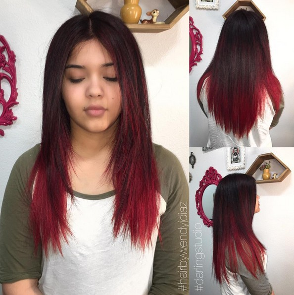 Straight Long Hair Style with Black, Red Color