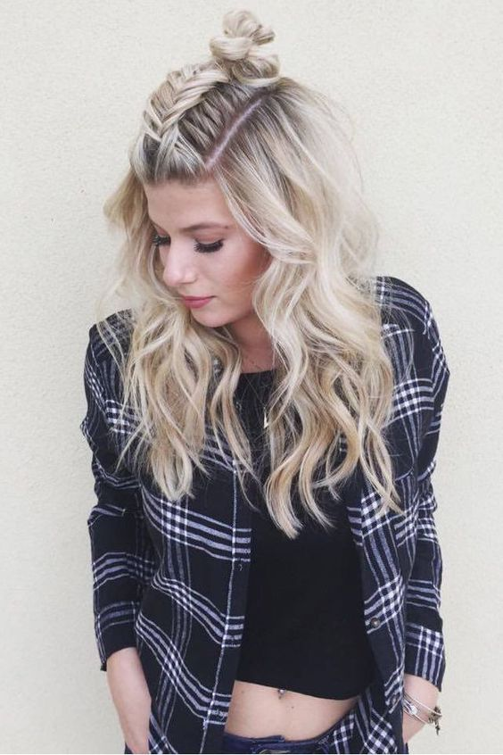 Loving this fishtail twist on the popular topknot hairstyle by @hairbymarissasue...: