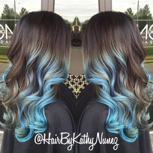 Brown and Blue Hair