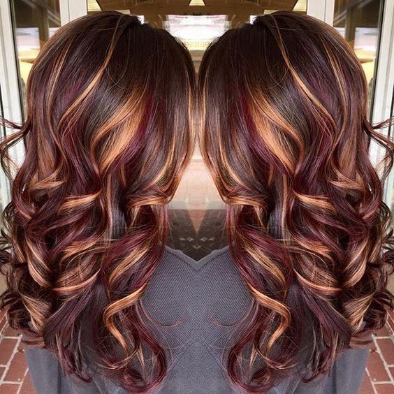 Brunette hair color with burnished blonde highlights