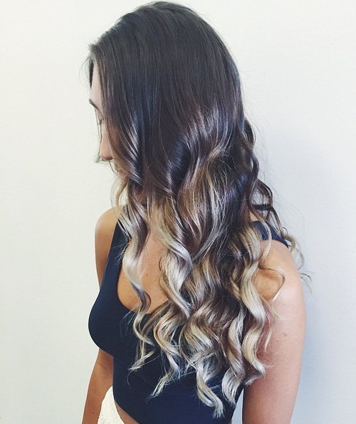 Curls with Sliver and Blonde Highlights
