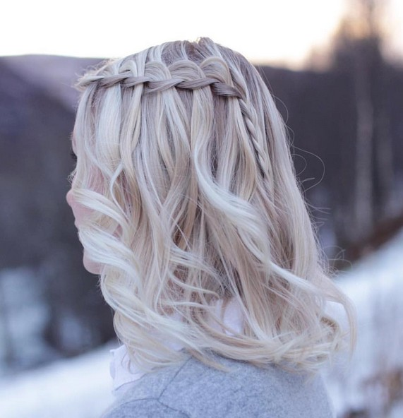 Homecoming Medium Hairstyle with Waterfall Braid - Balayage Ombre Hairstyles