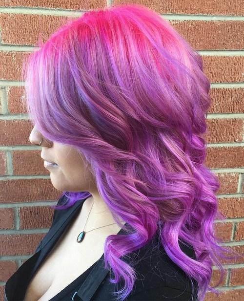 Red and Lavender Hairstyle