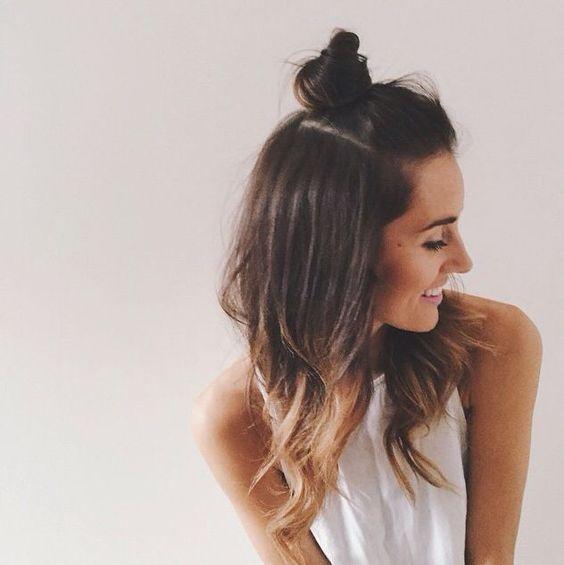 Cute half up top knot, half up top bun: