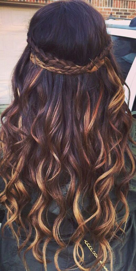 23 Balayage Long Curly Hair Color Hairstyle Woman