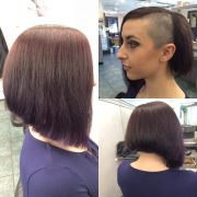 inverted bob with shaved side