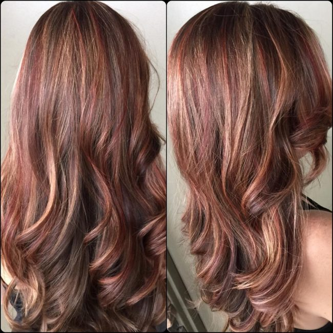 Light brown hair with blonde and red highlights pictures dark brown hair with red and blonde highlights hairs pmusecretfo Choice Image