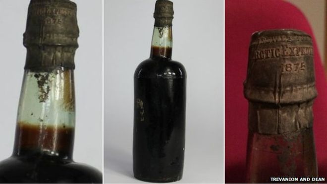 83393291 bottlecollage 1 - Bottle of 140-year-old Arctic Ale beer auctioned