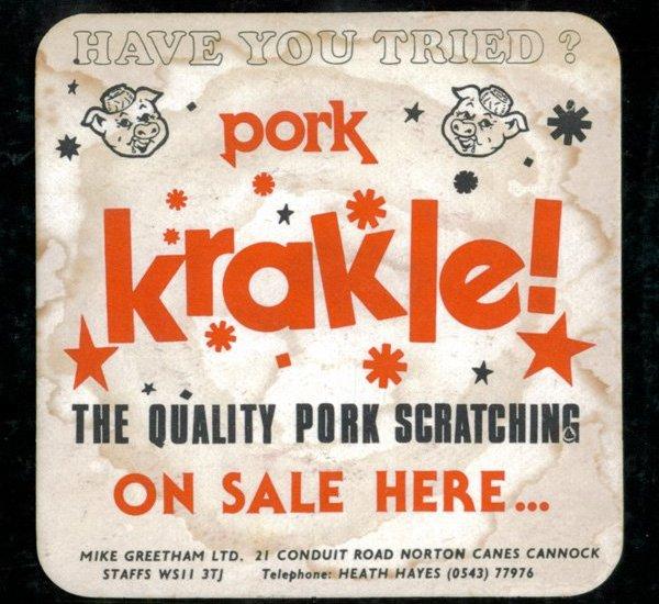 vintage pork krackle beer mat - Vintage Pork Krackle Beer Mat