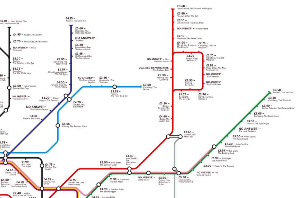 pubmap3 1024x683 - Redesigned Tube map shows cheapest pints of beer close to London stations