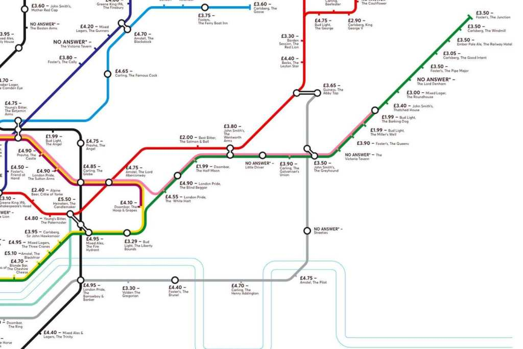 pubmap8 1024x683 - Redesigned Tube map shows cheapest pints of beer close to London stations