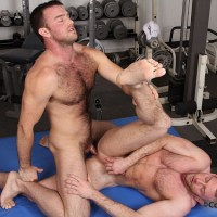 beefy hairy hunks fuck in gym