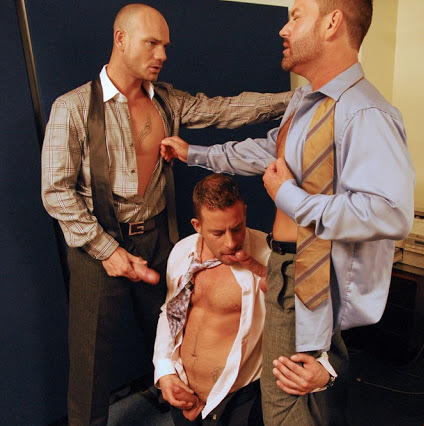 suited office threesome